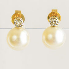 PEARL EARRINGS 8.6mm CULTURED SOUTH SEA PEARLS REAL DIAMONDS 14K  GOLD STUDS NEW