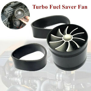 Air Intake Turbonator Single Fan Turbine Gas Fuel Saver Turbo Supercharger Black