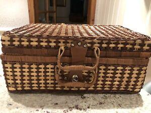 Vintage wicker picnic basket. Retro Camper van Festival !