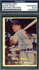 HANK SAUER PSA DNA COA Autograph 1957 TOPPS Authentic Hand Signed