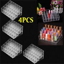 4x 24 Slots Clear Acrylic Makeup Organizer Box Make Up Cosmetic Display Storage