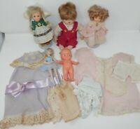 Lot Vintage Dolls & Clothes - Irwin Kewpie Shirley Temple Ballerina Boy Overalls