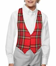 Childs Red Punk Tartan Backless Waistcoat Burns Night Christmas Fancy Dress