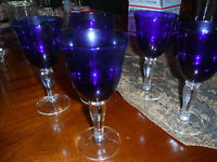 GIBSON COLONIAL COBALT BLUE GLASSES SET OF 5