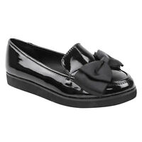 GIRLS SCHOOL SHOES BLACK FLAT DOLLY BALLET GEEK PUMPS LOAFERS WORK OFFICE SIZE