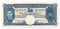 .RARE S27 1ST PREFIX EF / EF+ R48F 1952 AUSTRALIAN 5 POUNDS NOTE