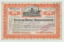 Tonopah Divide Mining Company Nevada 1918 Cancelled Common Stock Certificate