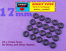 Dinky 20 x Black Smooth Tyres Cars Trucks 17mm will fit some others Corgi etc..
