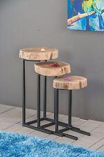 Apollo Set of 3 Nesting Table- Solid Acacia Wood/Black Iron Legs-WNT04