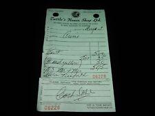 Vintage Receipt,TUTTLE'S FLOWER SHOP,Sydney,Nova Scotia, NS,Canada, 1967 Invoice