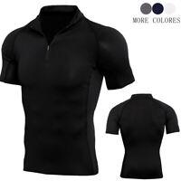 Men's Compression 1/4 Zipper Shirt Mock Neck Short Sleeve Top Cool Dry Solid