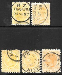 NEW ZEALAND 1882-1900 3d range of perfs, used CDS. Cat.minimum £80.