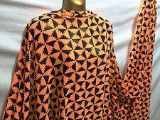 *NEW*Smooth Drapey Orange/Navy Geometric Print Dress/Craft Fabric *FREE P&P*