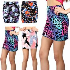 Womens Ladies Floral Print Stretchy Fitted Bodycon Mini Length Skirts Plus Size