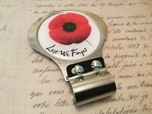 Lest We Forget Red Poppy Car Badge with badge bar fitting  British Leigion  1