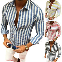 Men's Striped Shirt Long Sleeve Button Summer Slim Fit Casual Collared Tee Tops