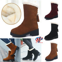 US Womens Snow Boots Zipper Slip On Winter Warm Fur Lined Ankle Boots Shoes Size