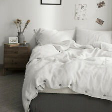 Simple&Opulence 100% Washed Linen Coconut Wood Deduction Solid Duvet Cover set
