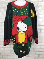 Vintage Snoopy & Friends Woodstock Floral Graphic Print Sweater Ladies Size 2XL