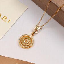 18K Yellow Gold Plated Bulgari Astrale Cerchi Pendant Necklace Chain Wi Diamonds