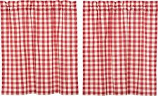 """36"""" L Red & White Buffalo Check Country Farmhouse Window Tier Set Lined Annie"""