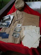 WW2 USAAF Officer LOT Khaki Jacket Crusher Cap Declassified Photos & 201 File