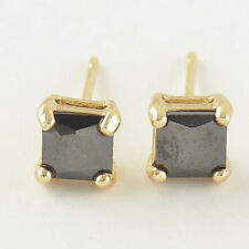 7mm Square Princes Cut Cz Stud Earrings Great New 9K Yellow Gold Filled Black
