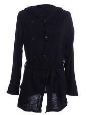 Women S/M Fit Black Tie Sash Waist Double Row Buttons Hoodie Detail Jacket
