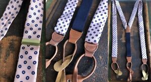 VTG SILK TWILL PINK BLUE SUSPENDERS BRACES PREPPY PATTERNED BROWN LEATHER EUC