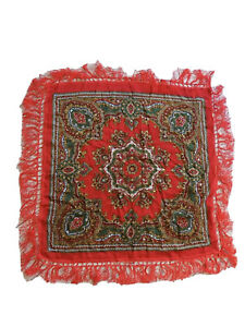 """SUPERB VINTAGE RED ORNATE MULTI COLOUR FOLK RUSSIAN STYLE RAYON SCARF 29 X 29"""""""