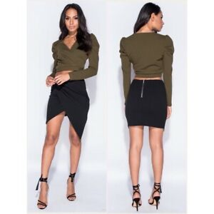 Wrapover asymmetric hem skirt. Sizes 6-14. True to size. New with tag.