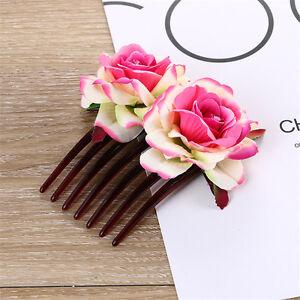 Double Silk Rose Flower Hair Comb Hair Clips Pins Wedding Bridal Party Beachy