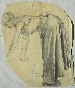 Paula Wimmer 1876-1971 Dachau /Zeichnung bückende Frau (Mama?) Frühwerk signiert