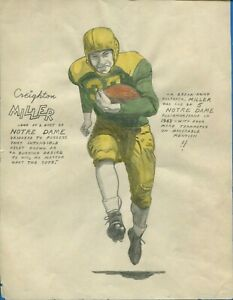 ORIGINAL 1943 CREIGHTON MILLER NOTRE DAME COLLEGE FOOTBALL COLOR DRAWING