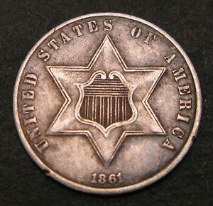 USA 3 Cents 1861 - Silver - F/VF - 327