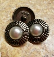 """CC 100% Chanel Logo Vintage Pearl Center 23 mm 7/8"""" Stamped High Quality"""