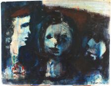 BERNARD DAMIANO (1926-2000) ANCIEN TABLEAU PEINTURE TETES FEMMES BLEUES BENEZIT