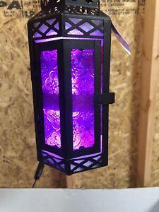 Vela Lanterns Moroccan Style Candle Lantern, Medium, Purple Glass