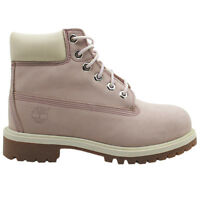 Timberland 6 Inch Premium Lace Up Pink Nubuck Leather Youths Boots 34792 T1