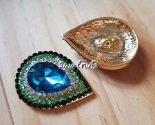 1pc Gold & Blue Green Teardrop Crystal Rhinestone Gem Shank Sew on Button