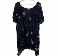 Autograph Womens Black Floral Short Sleeve Lined Blouse Plus Size 18