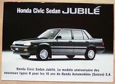 très rare Feuillet Honda Civic Sedan Jubilé  - Suisse  - 2p