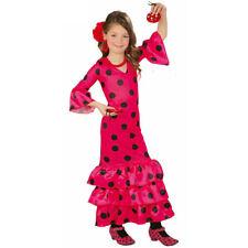 Abito Ragazze Spagnole Flamenco Rosa Nero Costume libro giornata mondiale NUOVO