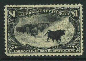 US Sc292 1898 $1 MINT Large part o.g. Cat $1500