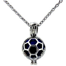 """Cage 18"""" Stainless Necklace -K455 Football Soccer Pearl Cage - Beads"""