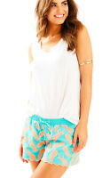 Lilly Pulitzer NWT Baybreeze Seaside Aqua Embroidered Shorts Teal & Coral XS $78