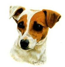 "JACK RUSSELL Dog Heads in Two Poses. Each of 6.  TOTAL 12 x 6"" Fabric Squares"