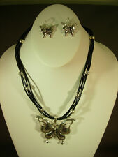 MULTI-STRAND BLACK CORD WITH SILVER BUTTERFLY PENDANT NECKLACE AND EARRINGS