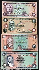 JAMAICA 1 2 5 10 DOLLARS P CS1 1976 COMMEMORATIVE UNC MONEY NOTES COMPLETE SET