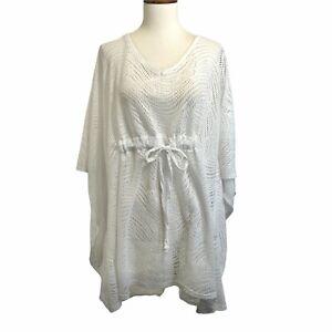 Catalina Cover Up Plus Size 2X 18-20W White Drawstring Waist Tunic Open Mesh